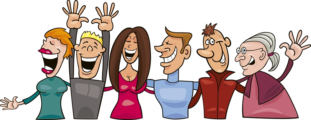 Cartoon illustration of group of happy people